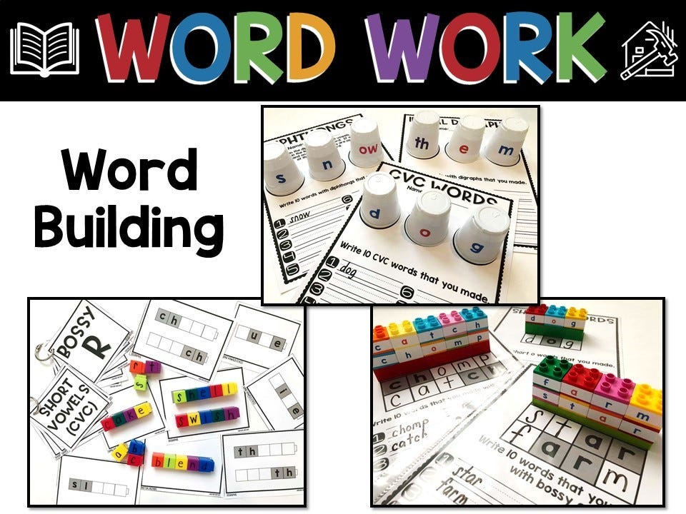 word work strategies for guided reading and literacy centers infographic