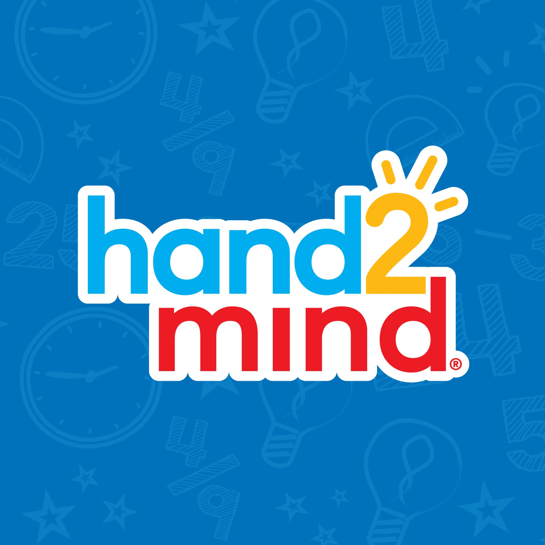 hand2mind logo over a blue background with light classroom symbols