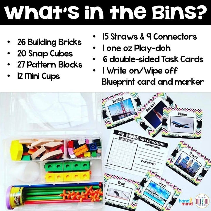 See what's included in STEM Bins Learn and Play Packs from Hand2mind