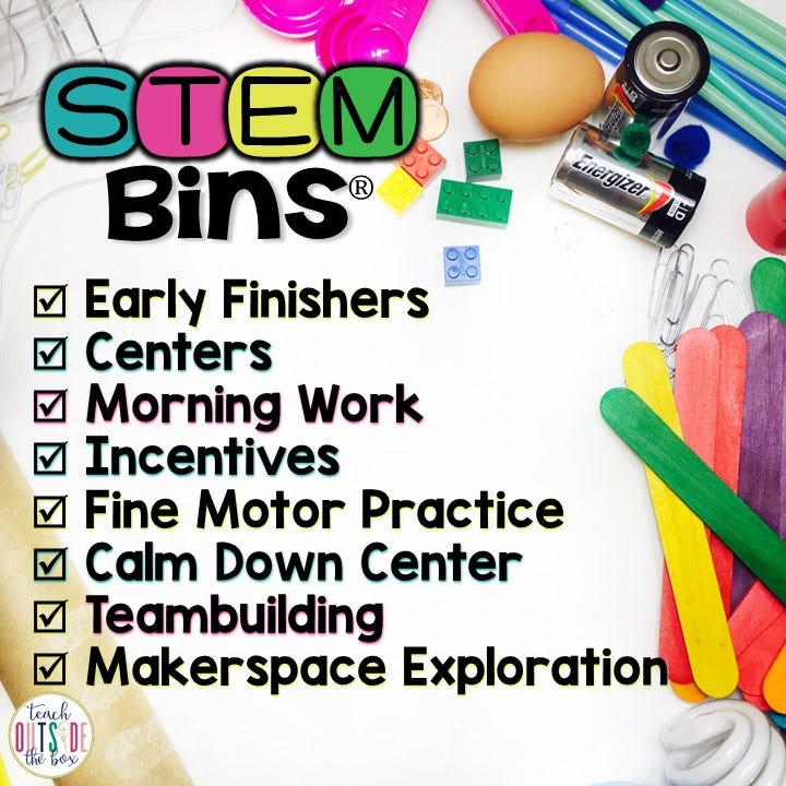 STEM Bins Learn and Play Packs from Hand2mind can be used in many ways in the classroom