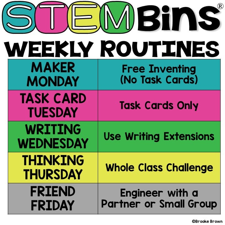STEM Bins Learn and Play Packs from Hand2mind create weekly routines for morning work or centers
