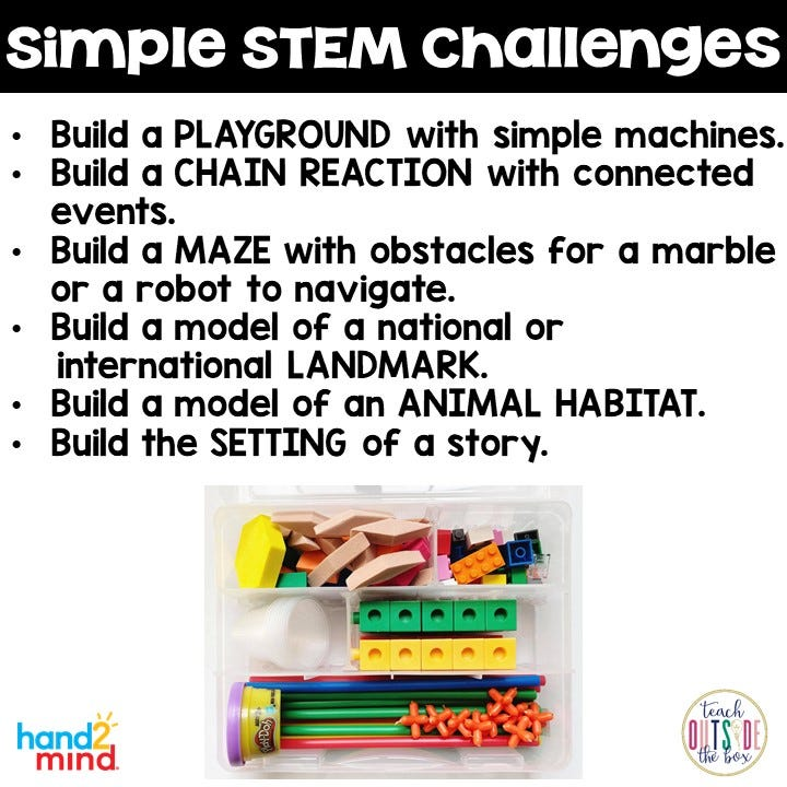 STEM Bins Learn and Play Packs from Hand2mind provide a great way to challenge students or whole classes.