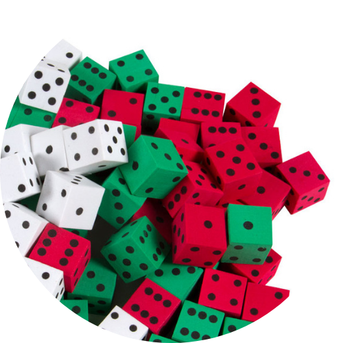 red, green, and white foam dot dice